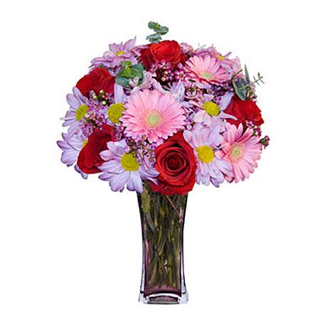 Görsel hediye karisik cam mevsim demeti  Ankara Sincan çiçek siparişi vermek
