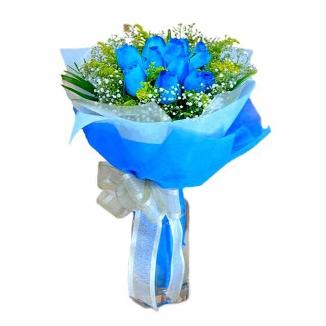7 adet mavi gül buketi  sincan çiçekçi Ankara Sincan internetten çiçek satışı