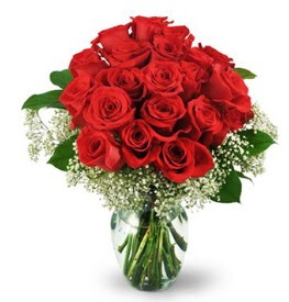 25 adet kırmızı gül cam vazoda  sincan çiçekçi Ankara Sincan internetten çiçek satışı