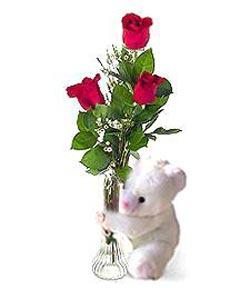 oyuncak ve 3 adet gül  Ankara Sincan online çiçek gönderme sipariş