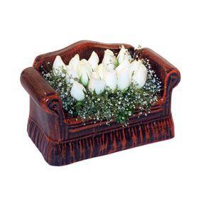 seramik içerisinde 11 gül  Ankara Sincan internetten çiçek siparişi