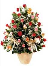 91 adet renkli gül aranjman   Ankara Sincan çiçek , çiçekçi , çiçekçilik