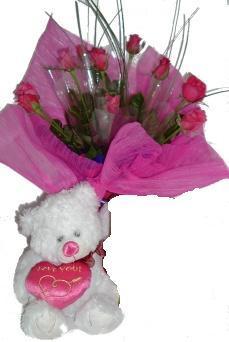 dokuz adet gül  ve ayicik   Ankara Sincan hediye çiçek yolla