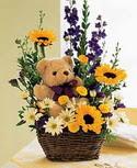 karisik aranjman ve ayicik   Ankara Sincan hediye çiçek yolla