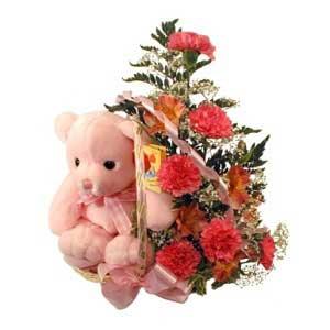 sepette karanfiller ve ayicik   sincan çiçekçi Ankara Sincan internetten çiçek satışı