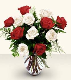 Ankara Sincan çiçek servisi , çiçekçi adresleri  6 adet kirmizi 6 adet beyaz gül cam içerisinde