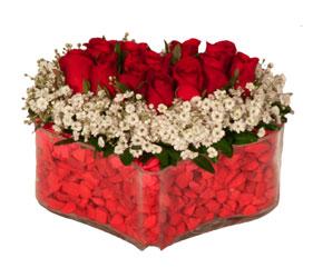Çiçek siparişi Ankara Sincan anneler günü çiçek yolla  Mika kalp içerisinde 9 adet kirmizi gül tanzimi