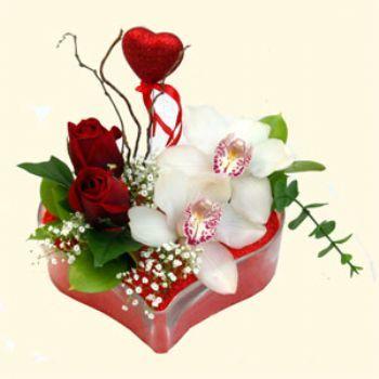 Ankara Sincan güvenli kaliteli hızlı çiçek  1 kandil orkide 5 adet kirmizi gül mika kalp