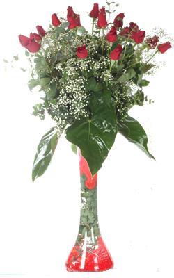 Ankara Sincan çiçek servisi , çiçekçi adresleri  19 ADET GÜL VE FIL CAM AYAGI