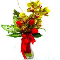 Ankara Sincan çiçek servisi , çiçekçi adresleri  1 adet dal orkide ve cam yada mika vazo tanzim