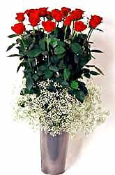 Ankara Sincan hediye sevgilime hediye çiçek  9 adet kirmizi gül cam yada mika vazoda