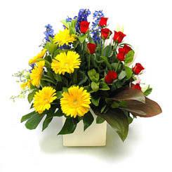 Çiçek siparişi Ankara Sincan anneler günü çiçek yolla  9 adet gül ve kir çiçekleri cam yada mika vazoda