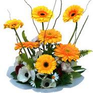 camda gerbera ve mis kokulu kir çiçekleri  Ankara Sincan çiçekçi mağazası