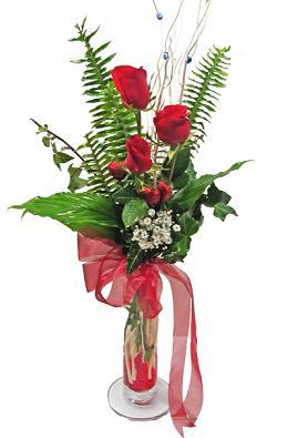 Çiçek gönderin cam vazoda 3 gül çiçekleri  Ankara Sincan online çiçek gönderme sipariş