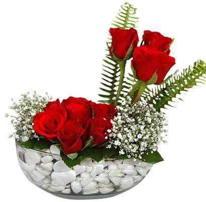 cam içerisinde 9 adet kirmizi gül  Ankara Sincan 14 şubat sevgililer günü çiçek