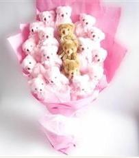17 adet pelus ayicik buketi  Online Ankara Sincan çiçek satışı