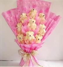 9 adet pelus ayicik buketi  Ankara Sincan kaliteli taze ve ucuz çiçekler
