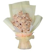 11 adet pelus ayicik buketi  Online Ankara Sincan çiçekçiler