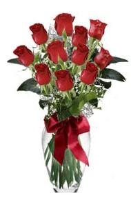 11 adet kirmizi gül vazo mika vazo içinde  Ankara Sincan çiçek mağazası , çiçekçi adresleri