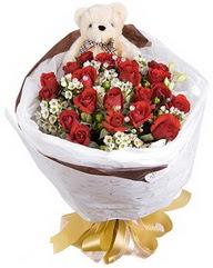 15 cm boyutlarinda ayicik ve 12 adet gül  Ankara Sincan online çiçek gönderme sipariş