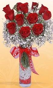 10 adet kirmizi gülden vazo tanzimi  Ankara Sincan online çiçek gönderme sipariş