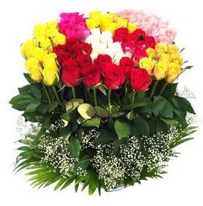 Ankara Sincan çiçek yolla , çiçek gönder , çiçekçi   51 adet renkli güllerden aranjman tanzimi