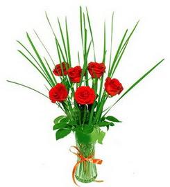 sincan çiçekçi Ankara Sincan internetten çiçek satışı  6 adet kırmızı güllerden vazo çiçeği