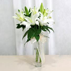 Ankara Sincan kaliteli taze ve ucuz çiçekler  2 dal kazablanka ile yapılmış vazo çiçeği