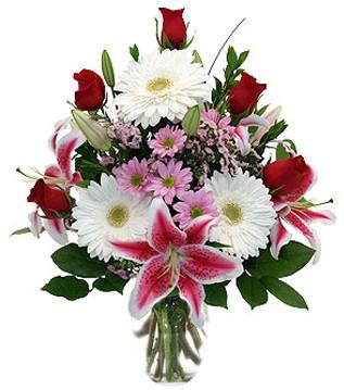 Ankara Sincan çiçek yolla , çiçek gönder , çiçekçi   1 dal kazablanka 5 gül ve kırçiçeği vazosu
