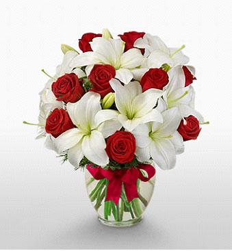 Ankara Sincan internetten çiçek siparişi  1 dal kazablanka 11 adet kırmızı gül vazosu