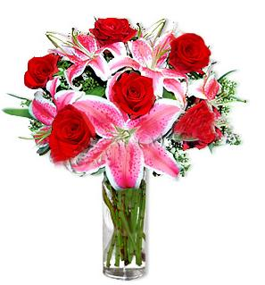 Ankara Sincan ucuz çiçek gönder  1 dal cazablanca ve 6 kırmızı gül çiçeği