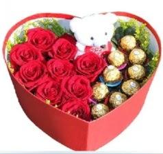 Kalp içerisinde 8 gül 9 çikolata ve ayıcık  Ankara Sincan uluslararası çiçek gönderme