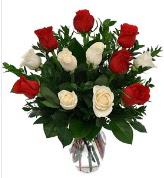 Vazo içerisinde 6 kırmızı 6 beyaz gül  Ankara Sincan internetten çiçek siparişi