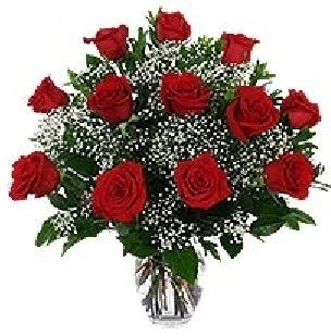 Ankara Sincan çiçek siparişi vermek  12 adet kırmızı gülden vazo tanzimi