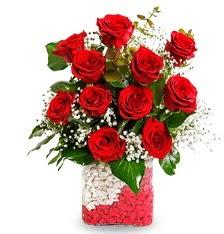 11 adet kırmızı gül vazosu  Ankara Sincan hediye sevgilime hediye çiçek