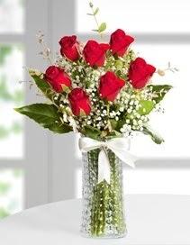 Cam vazoda 7 adet kırmızı gül  sincan çiçekçi Ankara Sincan internetten çiçek satışı