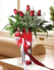 Camda 5 kırmızı gül tanzimi  Ankara Sincan çiçekçi mağazası