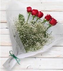 5 kırmızı gülden sade buket  Ankara Sincan ucuz çiçek gönder