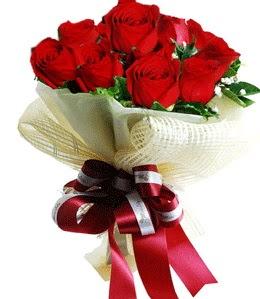 9 adet kırmızı gülden buket tanzimi  Ankara Sincan çiçek , çiçekçi , çiçekçilik