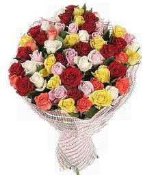 51 adet rengarenk gül buketi  Ankara Sincan çiçek yolla , çiçek gönder , çiçekçi