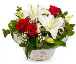 Cam içerisinde 2 kandil kazablanka 5 gül  Ankara Sincan uluslararası çiçek gönderme