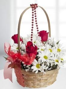 sepette 3 gül ve krizantem çiçekleri  Ankara Sincan çiçek siparişi sitesi