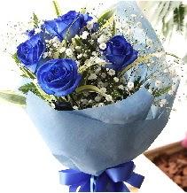 5 adet mavi gülden buket çiçeği  Ankara Sincan çiçek siparişi sitesi