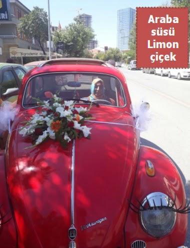 Gelin arabası süslemesi düğün arabası süs  Ankara Sincan ucuz çiçek gönder