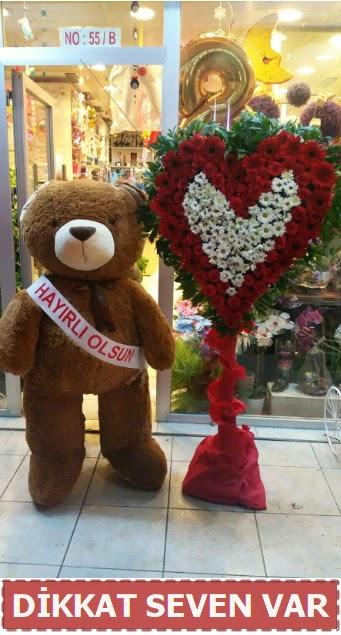 1.5 Metre peluş ayı ve Kalp  Ankara Sincan çiçek , çiçekçi , çiçekçilik