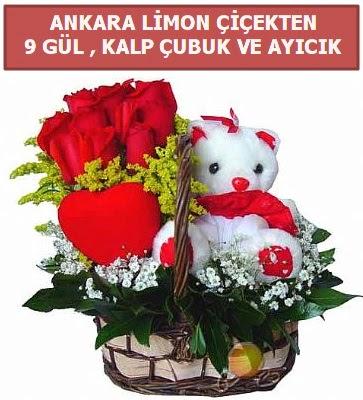 Kalp çubuk sepette 9 gül ve ayıcık  Ankara Sincan çiçekçi mağazası