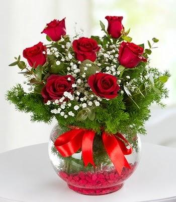 fanus Vazoda 7 Gül  sincan çiçekçi Ankara Sincan internetten çiçek satışı