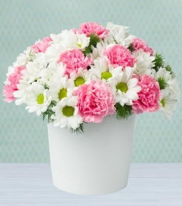 Seramik vazoda papatya ve kır çiçekleri  Ankara Sincan online çiçek gönderme sipariş