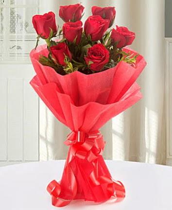9 adet kırmızı gülden modern buket  Online Ankara Sincan çiçek satışı