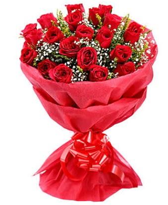 21 adet kırmızı gülden modern buket  Ankara Sincan hediye çiçek yolla